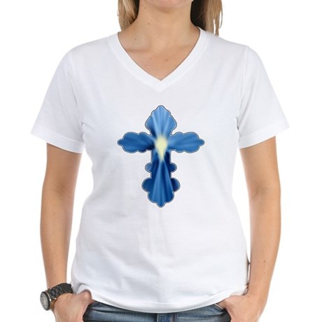 Holy Spirit Cross Women's V-Neck T-Shirt