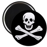 "Classic Skull and Crossbones 2.25"" Magnet (10 pack"