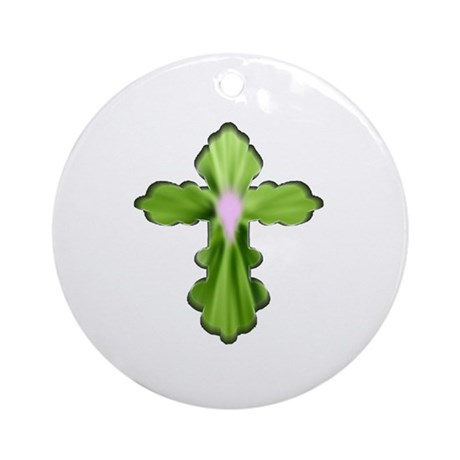 Holy Spirit Cross Ornament (Round)