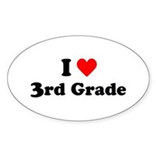 I Heart 3rd Grade Oval Decal