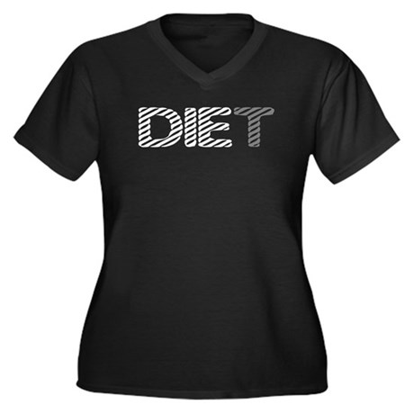 Diet Women's Plus Size V-Neck Dark T-Shirt