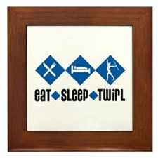 Eat Sleep Twirl (Blue) Framed Tile