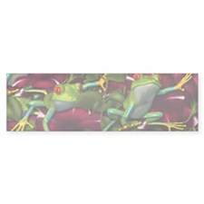 RED PETUNIA FROGS Bumper Bumper Sticker