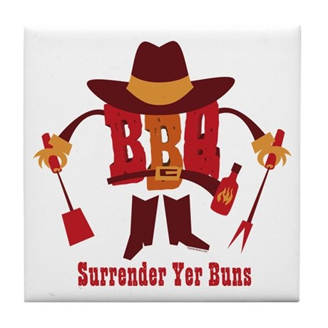 Surrender Yer Buns Tile Coaster