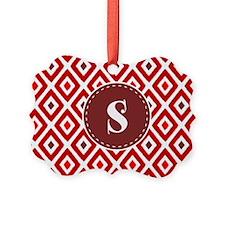 Red Ikat Diamond Pattern Monogram Ornament