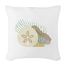 SAND DOLLAR ON OCEAN FLOOR Woven Throw Pillow
