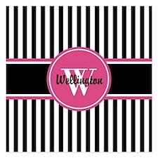 Black and White Striped Pat Invitations