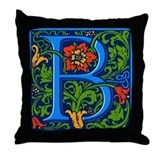 Floral Initial B Throw Pillow