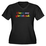 I love my girlfriend. Women's Plus Size V-Neck Dar