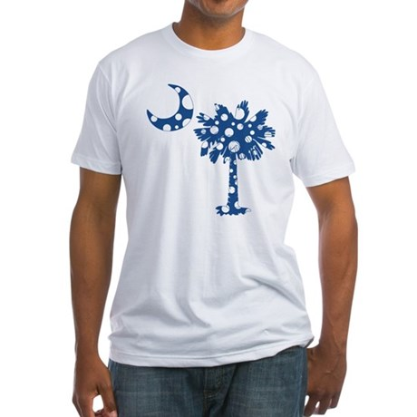 Blue Polka Dot Palmetto Fitted T-Shirt