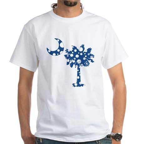 Blue Polka Dot Palmetto White T-Shirt