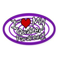 Hypno I Love My Quaker Parakeet Oval Sticker Pur