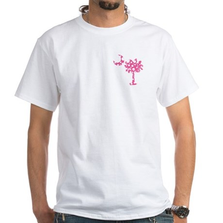 Pink Polka Dot Palmetto White T-Shirt