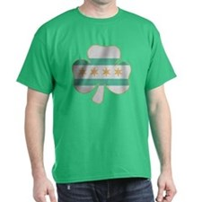 Irish Chicago flag shamrock T-Shirt