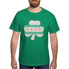 Irish Chicago flag shamrock T-Shirt