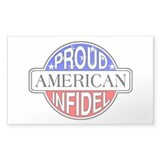 Patriotic American Infidel Rectangle Decal
