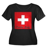 Proudly Swiss Women's Plus Size Scoop Neck Dark T-