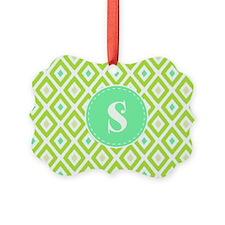 Pear Green Ikat Diamond Pattern Monogram Ornament