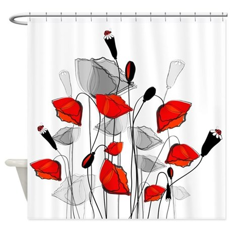 Beautiful Red Whimsical Poppies Shower Curtain