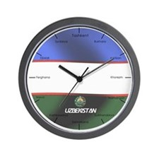 Unique Uzbekistan flag Wall Clock