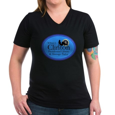 Clinton Library & Massage Women's V-Neck Dark T-Sh