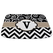 Black Beige Scroll Chevron Monogram Bathmat