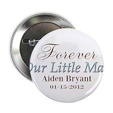 "Blue Brown Personalizable Little Man 2.25"" Button"