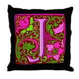 Floral Initial J Throw Pillow