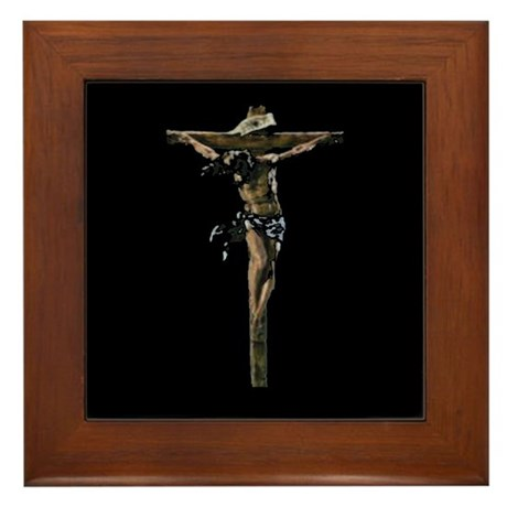 Jesus on the Cross Framed Tile