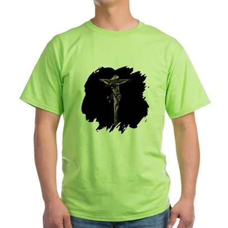 Jesus on the Cross Green T-Shirt