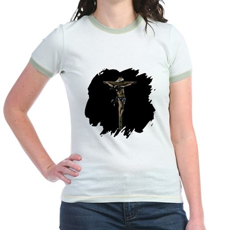 Jesus on the Cross Jr. Ringer T-Shirt