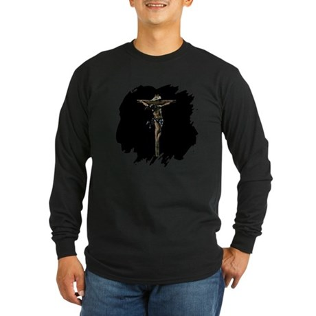 Jesus on the Cross Long Sleeve Dark T-Shirt