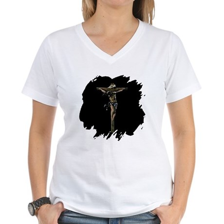 Jesus on the Cross Women's V-Neck T-Shirt