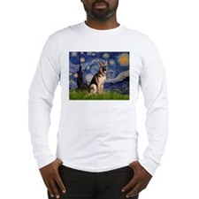 Starry Night & German Shepherd Long Sleeve T-Shirt