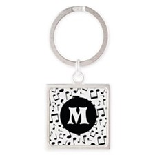 Music Monogram Personalized Square Keychain