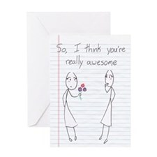 Stick Figure Girl To Girl Valentine Greeting Cards