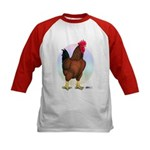 Red Broiler Rooster Kids Baseball Jersey