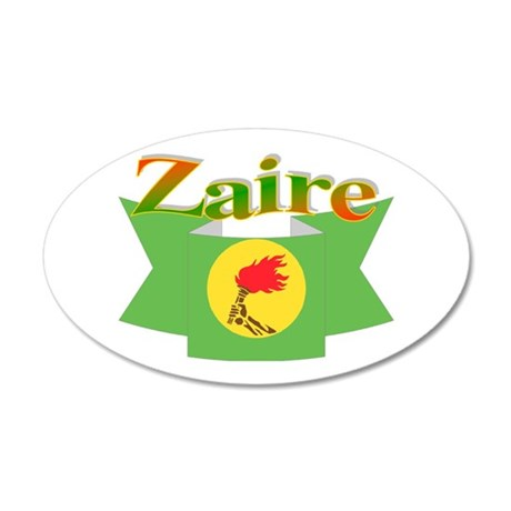 Zaire ribbon flag 20x12 Oval Wall Decal
