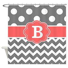 Gray Coral Chevron Dots Monogram Shower Curtain