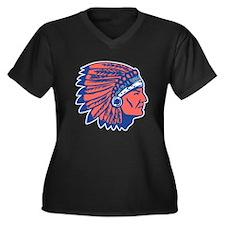 INDIAN CHIEF Women's Plus Size V-Neck Dark T-Shirt