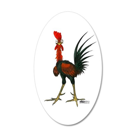 Crazy Rooster 20x12 Oval Wall Decal