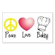 Peace, Love, Baking Rectangle Decal