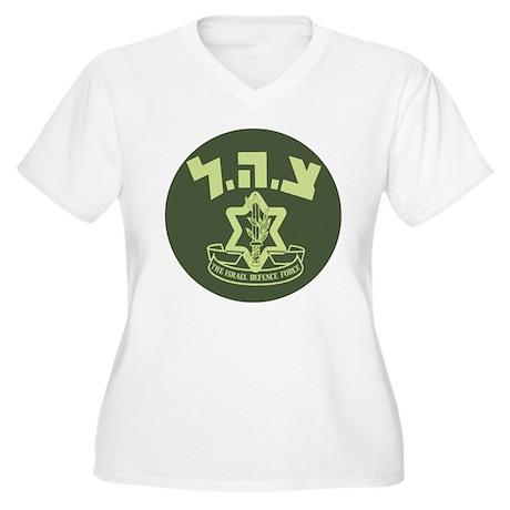 Tzahal Logo Women's Plus Size V-Neck T-Shirt