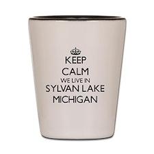 Keep calm we live in Sylvan Lake Michig Shot Glass