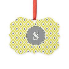 Yellow and Grey Ikat Diamond Pattern Monogram Orna