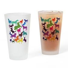 Rainbow Horses Drinking Glass