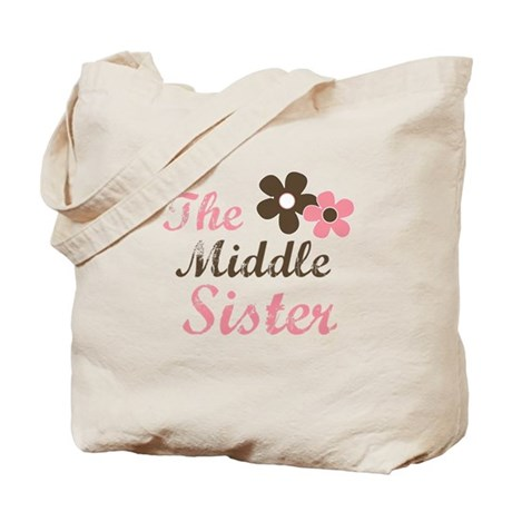 the middle sister pink brown flower Tote Bag