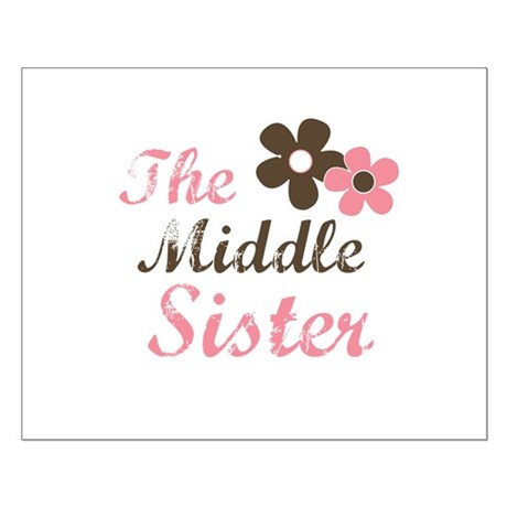 the middle sister pink brown flower Small Poster