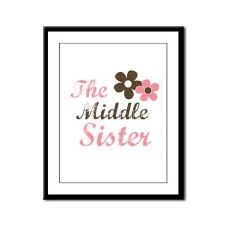 the middle sister pink brown flower Framed Panel P
