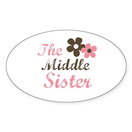 the middle sister pink brown flower Oval Sticker